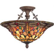 Jewelled Dragonfly Semi-Flush Fitting in a Malaga Finish with Tiffany Glass - QUOIZEL QZ/JDRAGONFLY/SF